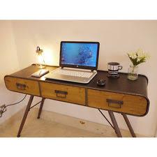 vintage metal office desk. Industrial 3 Drawer Vintage Metal Wood Retro Office Desk Computer Console Table