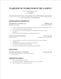 Warehouse Worker Resume Templates At