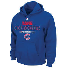 Majestic amp; Tall Royal Collection Take 2015 October Authentic Men's Hoodie Chicago Cubs Big Playoff