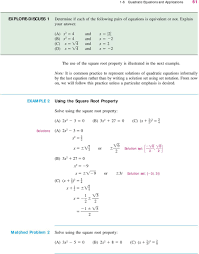 note it is common practice to represent solutions of quadratic equations informally by the last