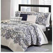Mesa Navy Blue and White Damask Quilt Bedding Set &  Adamdwight.com