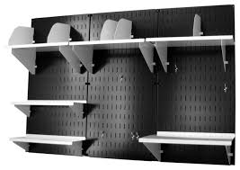 wall mounted office desk storage black wall panels and black accessories contemporary garage and tool storage by wall control