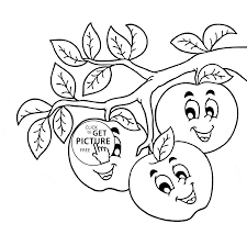 Small Picture Funny Apples on Branch coloring page for kids fruits coloring