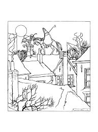 Kleurplaat Sinterklaas Rijdt Met Zwarte Piet Over De Daken 9261