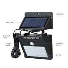 <b>LED Separable Solar</b> Powered PIR Motion Sensor Wall Dim Light 3 ...