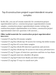 top 8 construction project superintendent resume samples in this file you can ref resume materials construction superintendent resume examples