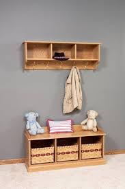 Hall Coat Rack With Storage Amish Traditional Hanging Wall Shelf With Storage And Coat Hooks 96
