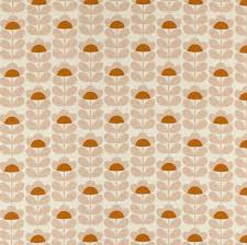Curtain Fabric Orla Kiely Prints Collection Sweet Pea Orange Curtain Fabric