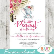 Boho Floral Elephant Baby Shower Invitations Girl D430 Baby