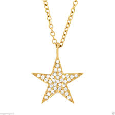 0 09 ct 14k yellow gold natural pave diamond star pendant