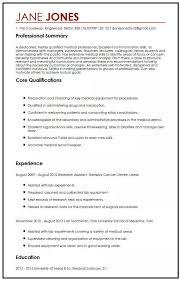 Cv Sample For Medical Students Myperfectcv