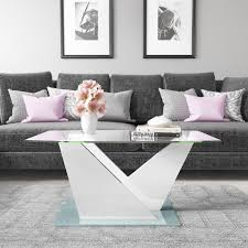 2 of 5 glass coffee table with white high gloss stand tiffany range tiff023