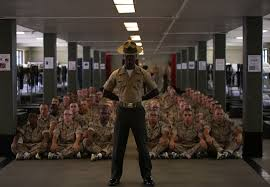 recruits meet parris island drill instructors who will train them throughout marine boot c