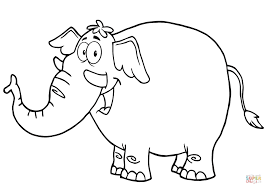 Small Picture Happy Cartoon Elephant coloring page Free Printable Coloring Pages