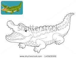 Small Picture Illustration Cartoon Crocodile Coloring Book Stock Vector