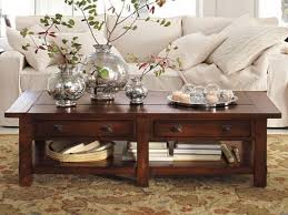 ... Coffee Tables, Beautiful Brown Rectangle Classic Wood Coffee Table  Centerpieces With Storage Idea To Decorating ...
