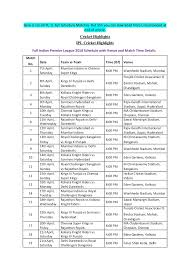 Ipl 2018 Schedule Pdf Download With Venues Times
