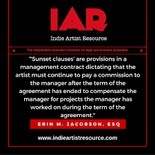 music management contract key clauses in management agreements part 3 sunset commissions