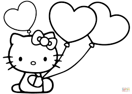 Small Picture Hello Kitty with Heart Balloons coloring page Free Printable