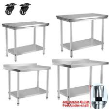 Stainless Steel Table With Backsplash Impressive STAINLESS STEEL COMMERCIAL Catering Table Work Bench Kitchen Back