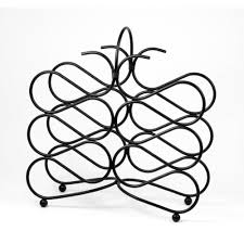 Scroll 12 bottle wine rack black
