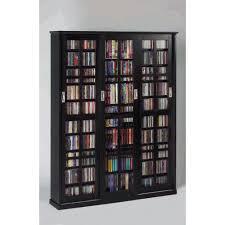 leslie dame enterprises sliding door inlaid glass mission style black multimedia cabinet