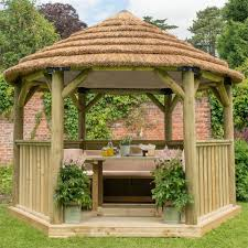 wooden garden gazebo with thatched roof double tap to zoom