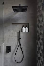 modern shower heads. In This Modern Bathroom, The Shower Has A Matte Black Rainfall Head And Heads
