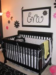 girls black and white baby nursery