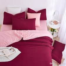 whole 2016 new minimalist bedding sets red wine color duver quilt cover bed sheet beige pillowcase soft comfortable king queen full silk bedding sets