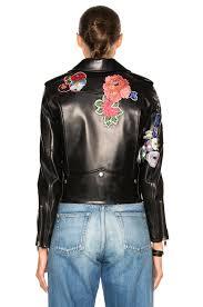 image 5 of saint lau embellished embroidered leather motorcycle jacket in black multi