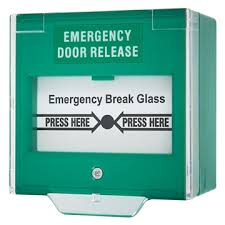 emergency break glass door release green