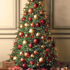 ... Delectable Look Of Red And Gold Christmas Tree Decorating Ideas :  Beautiful Design Ideas Using Rounded ...