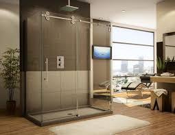 frameless sliding glass shower doors for luxury apartment
