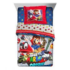 super mario odyssey fun 2 pc kids twin full comforter with sham and 4 piece full sheet set com