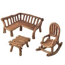 furniture fairy. MINIATURE-FAIRY-GARDEN-RUSTIC-MINI-FURNITURE-3-PIECE- Furniture Fairy