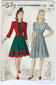 1940s Dress Patterns New Vintage 48s Dress And Jacket Pattern With Pleated Skirt And Bolero