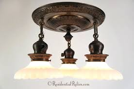 commercial electric 3 light bronze chandelier embossed brass semi flush mount with opalescent glass shades circa oil rubbed antique