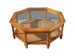 mid century octagon beveled glass top coffee table chairish diy