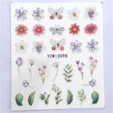 ZKO <b>1 PC Transparent</b> Color Flower Water Transfer Sticker Nail Art ...