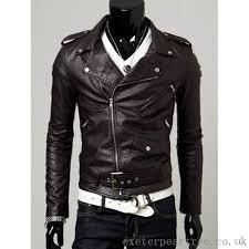 dark coffee men s turn collar pu leather belt embellished epaulet long sleeve jacket 2016 years s