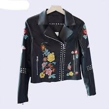 embroidery flower stud leather jacket women brown jacket moto coat jaquetas couro casaco chaquetas jacket chain punk women jacket jacket jacket for women