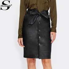 2019 sheinside tie bow belt waist on up faux leather pu skirt 2017 black knee length elegant pencil skirt women midi from benedica 27 66 dhgate com