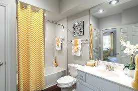 yellow and gray bathroom curtain with chevron stripes brings yellow to the modern gray bathroom photo yellow and gray bathroom