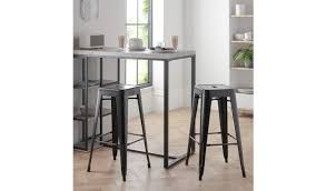 Buy Argos Home Stone Effect Bar Table & <b>2 Bar Stools</b> | Space ...