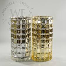 silver and gold mercury glass mosaic cylinder vase 10x5in whole flowers and supplies