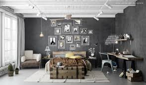 Enchanting Masculine Industrial Bedrooms Interior Design For Men With White  Grey Color Ideas Witha Rtistic Frame ...