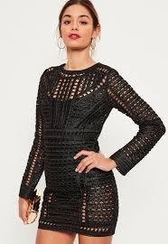 Black Crochet Lace Long Sleeve Bodycon Dress Missguided Ireland