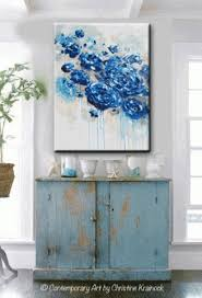 giclee print large art abstract painting blue flowers navy blue inside dark blue abstract wall art on navy blue and teal wall art with 15 ideas of dark blue abstract wall art wall art ideas