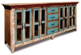 rustic distressed reclaimed solid wood sideboard curio cabinet glass doors farmhouse buffets and sideboards by crafters and weavers